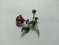 B8 - Fémjelzett 925 ezüst rózsa kitűző bross