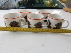 5 db koszoska, de hibátlan hollóházi porcelán csésze, szép motívummal
