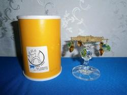 Különleges Bohemia kristály gyertyatartó eredeti dobozában