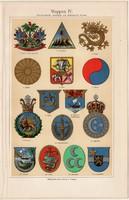 Címerek IV., színes nyomat 1908, német nyelvű, eredeti, litográfia, címer, Ázsia, Afrika , Amerika