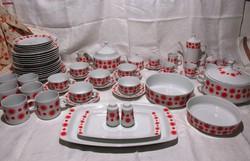 Retro Alföldi napocskás, piros pöttyös ét- kávés- teás készlet, bögre, tányér, tál, csésze, kiöntő