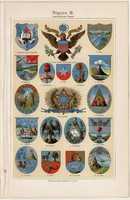 Címerek III., színes nyomat 1908, német nyelvű, eredeti, litográfia, amerikai országok, címer, Kuba
