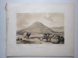 Keleti Gusztáv: Tokaj-hegyalja, Várhegy. Litográfia az eredeti(!) Tokaj-hegyaljai albumból (Pest, 1