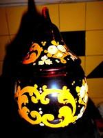 Biedermeier üveg bonbonier -kézi festéssel