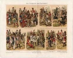 Katonaság I., színes nyomat 1908, német nyelvű, litográfia, katona, uniformis, hadtörténet, háború