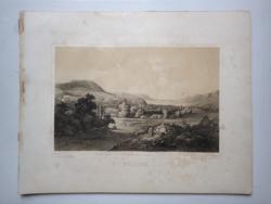 Keleti Gusztáv: Tolcsva. Litográfia az eredeti(!) Tokaj-hegyaljai albumból (Pest, 1867)