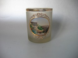 Antik, festett biedermeier pohár