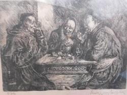Kvalitásos rézkarc, Kocsmai jelenet, 934-es jelzéssel, szignózott, számomra olvashatatlan szignóval