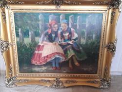 Áldor János .Két lány olvas a padon.