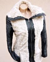 100 euros luxus design karcsúsított  szőrmés női kabát trendi dzseki  S 36