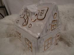 Porcelán - SÜTITARTÓ -régi - NAGY - aranyozott - mézeskalács ház  - 18 x 18 x 14 cm - ABLAKAI ÜVEGEK
