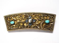 Bámulatos antik aranyozott ezüst mentelánc darab kitűző igazgyönggyel,türkizzel!