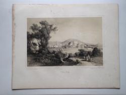 Keleti Gusztáv: Tállya. Litográfia az eredeti(!) Tokaj-hegyaljai albumból (Pest, 1867)