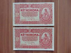 2 darab csillagos 2 korona 1920 Sorszámkövető !
