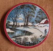 Litografált süteményes fémdoboz téli tájjal