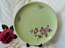 Zöld alapon lila rózsa, Kahla AF porcelán tál, kínáló, tányér