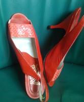 SZANDÁL cipő 37, hibátlan olasz ALBA MODA kígyó/sevróbőr