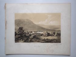 Keleti Gusztáv: Tokaj-hegyalja, Meszes. Litográfia az eredeti(!) Tokaj-hegyaljai albumból (1867)