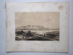 Keleti Gusztáv: Olaszliszka. Litográfia az eredeti(!) Tokaj-hegyaljai albumból (Pest, 1867)
