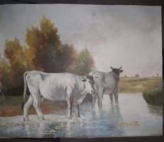 Heyer Arthur: Tehenek című festménye