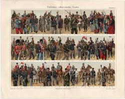 Hadtestek II., színes nyomat 1908, német nyelvű, litográfia, katona, hadi, katonaság, uniformis