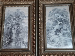 Antik 2 db Staron & Meyer St.Étienne 1900-as elején selyemkép