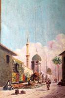 Antik szignált egyiptomi festmény 47