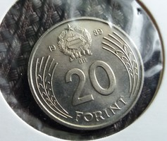 20 Forint 1989 Unc, enyhén félrevert.
