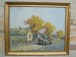 Németh György (1888-1962) Páros festménye 2. 40 x 50 cm.