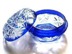 Kobaltkék vert csipke mintás kristály bonbonier, díszes kínáló