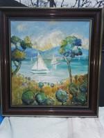 Pleidell János vitorlások festmény.