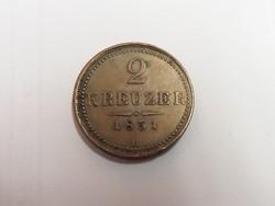 2 krajcár 1851 B, Körmöcbánya.