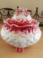 Meseszép antik nagy rózsás bonbonier