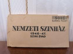 1946 47 évad tagsági jegy Nemzeti Színház baráti körének jegyváltásra 32 db teljes füzet