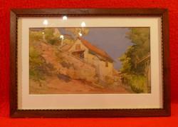 Jelzett, hangulatos akvarell szép keretben 1916-ból