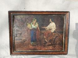 Antik olajfestmény. Kiàlitva vagy akciózva volt. 1925