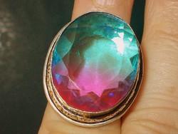 Muránói Üveg Kristály 925 ezüst tekintélyes kézműves Gyűrű 7-es Szivárvány!