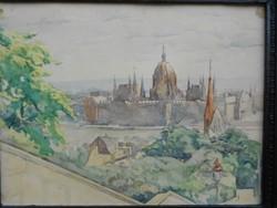 Budapest Parlamenti látkép, karton-akvarell. 1930-as évek Ritka, eredeti, hibátlan.Jelzett.