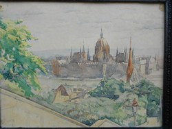 Budapest parliamentary view, cardboard watercolor. 1930s rare, original, flawless.Signed.