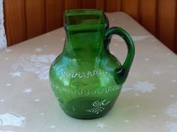 Ritka szép szecessziós keresztelő kancsó, zöld huta üveg