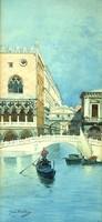 Ism,szignó : Velence,Sóhajok hídja,akvarell,1895