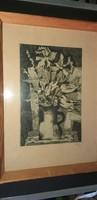 Túry Mária (1903 - 1992) keretezett rézkarc üveg mögött.5000.-Ft