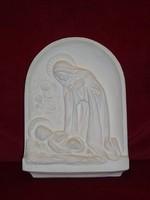 Gipsz falikép, vallási jelenetet ábrázoló.