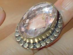 Hegyikristály köves 925 ezüst tekintélyes kézműves Gyűrű 8.5 - es