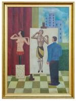 Bortnyik Sándor - Festő és modell című festménye