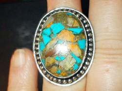 Réz Türkiz köves 925 ezüst tekintélyes kézműves Gyűrű 8.5-es