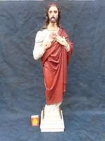 Cc.1870 Jézus szobor.56cm. Nagyméretű. Hibátlan. Jelzett.Terrakotta. Gyűjtői darab.