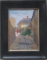 Czencz János (1885-1960) Tabán  cimü festménye eredeti Garanciával