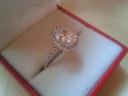 585/14kr.Fehérarany gyűrű,Moissanite gyémánt-Eljegyzési gyűrű