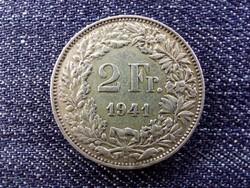 Svájc .835 ezüst 2 Frank 1941 B / id 13913/